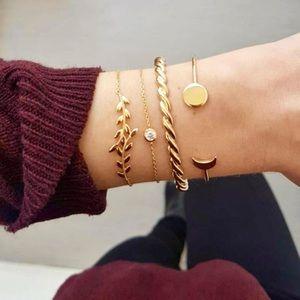 """Edith"" Gold Moon Diamond Leaf Stacked Bracelets"